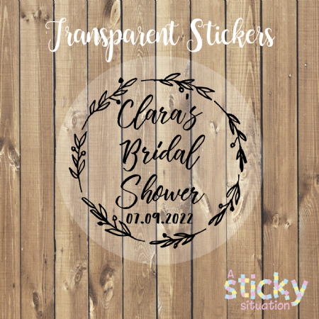 Personalised Transparent Bridal Shower Stickers